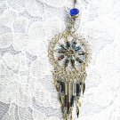 BLUE RAINBOW SPIRAL DREAMCATCHER BEADED TASSLES COBALT BLUE CZ BELLY BUTTON RING