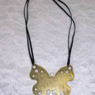 NEW BIG & BOLD ANTIQUED BRASS HUGE BUTTERFLY FASHION PENDANT  16 - 19 INCH BLACK VELVET NECKLACE