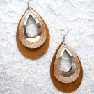 BIG LIGHT BROWN  & GOLDEN GLITTER DROP SHAPE 2 PART WOOD METAL DANGLING EARRINGS
