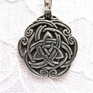 PEWTER ENTWINED CELTIC DOUBLE TRI KNOT INFINITY ROUNDED PEWTER PENDANT NECKLACE