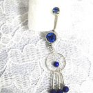 STERLING SILVER DREAMCATCHER w COBALT BLUE BEADS & DBL BLUE CZ BELLY BUTTON RING