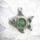 TROPICAL REEF FISH w BLUE / GREEN / YELLOW GLITTER INLAY PEWTER PENDANT NECKLACE