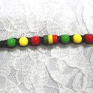 NEW BLACK MACRAME WEAVE RASTA RED GREEN YELLOW TIE ON BRACELET OR ANKLET 7 - 11""