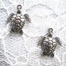 NEW USA PEWTER DETAILED HONU ENDANGERED GREEN SEA TURTLE DANGLING CHARM EARRINGS