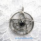 VINTAGE SNAKE & 5 POINT PENTACLE STAR w BLACK SWAROVSKI CRYSTAL PENDANT ADJ NECKLACE