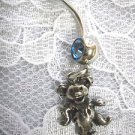 CAST PEWTER DANCING BEAR CHARM ON 14g SURGICAL SS & BABY BLUE CZ BELLY BAR NAVEL RING