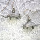 VINTAGE 3D DETAILED REXAS ARMADILLO DANGLING CHARMS USA PEWTER DANGLING EARRINGS