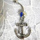 DETAILED SAILOR NAUTICAL ANCHOR DANGLING CHARM ON DBL COBALT BELLY BUTTON RING