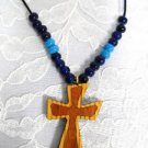 OAK w BUBINGA INLAY WOOD CROSS w ACCENT BEADS NECKLACE