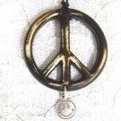 LARGE BROWN & OFF WHITE RESIN HIPPIE PEACE SIGN w SMILEY DISC DANGLE PENDANT ADJ NECKLACE