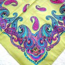 BRIGHT PAISLEY COLORS ON OLIVE GREEN BANDANA w PURPLE TURQUOISE PINK HEAD WRAP SCARF