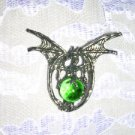 LARGE SPINY WING DRAGON w GREEN GLASS ORB BALL PEWTER PENDANT ADJ CORD NECKLACE
