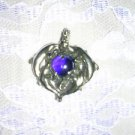 X LARGE 4 DOLPHIN PLAYING AROUND A COBALT BLUE BALL PEWTER PENDANT ADJ NECKLACE
