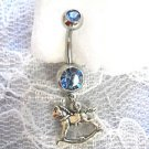 STERLING SILVER 3D DETAILED ROCKING HORSE CHARM BABY BLUE CZ BELLY BUTTON RING