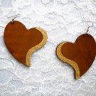 XL MEDIUM BROWN SHAPED HEART w GOLD GLITTER ACCENT REAL WOODEN DANGLING EARRINGS