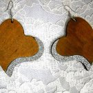 NEW XL MEDIUM BROWN SHAPED HEART w SILVER GLITTER REAL WOOD DANGLING EARRINGS