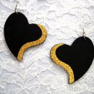 NEW XL BLACK SHAPED HEART w GOLD GLITTER ACCENT REAL WOOD DANGLING EARRINGS