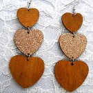 NEW LONG MED BROWN & GLITTERY 3 TIER HEART / HEARTS REAL WOOD DANGLING EARRINGS