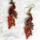 ANTIQUED GOLDEN BRONZE PEACOCK BIRD w RED INLAY & MULTI CRYSTAL TAIL EARRINGS