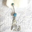 COYOTE / WOLF IN STERLING SILVER HAND HAMMERED DESIGN SPIRIT ANIMAL CHARM 14g BLUE CZ BELLY RING