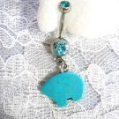 NATIVE ZUNI SOLID TURQUOISE GEM TOTEM BEAR 3D CHARM & BLUE CZ BELLY BUTTON RING