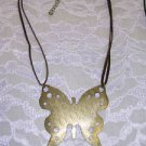 NEW GIANT BOLD FASHION ANTIQUED BRASS BUTTERFLY PENDANT ON BROWN VELVET NECKLACE
