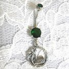 STERLING SILVER COCONUT PALM TREE & GRASS SHACK CHARM 14G EMERALD GREEN CZ BELLY RING