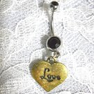ANTIQUED BRASS LOVE HEART SHAPED CHARM ON DOUBLE BLACK CZ BELLY BUTTON RING