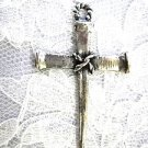 NEW JESUS CARPENTER CROSS USA CAST PEWTER PENDANT ON ADJ CORD NECKLACE
