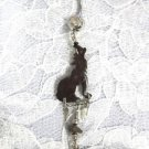CUSTOM COCONUT HOWLING WOLF CHARM DBL CLR CZ BELLY BUTTON RING