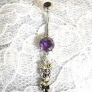 STERLING SILVER 3D ISLAND MONEY TIKI DUDE CHARM - PURPLE CZ BELLY BUTTON RING