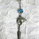 RARE EJC 89 PEWTER ZUNI BEAR CONCHO w DANGLING FEATHER BLUE CZ BELLY BUTTON RING