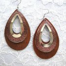 BIG DARK BROWN  & SILVER GLITTER DROP SHAPE 2 PART WOOD METAL DANGLING EARRINGS