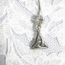 SALE PEWTER CELTIC INFINITY TRI KNOT w CLEAR CZ BANANA BAR STYLE BELLY BUTTON RING