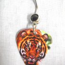 BIG JUNGLE CAT TIGER / TIGRESS PHOTO GUITAR PICK BLACK CZ NAVEL RING