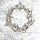 XL BARBED WIRE ROUND SHAPED CROWN OF THORNS PEWTER PENDANT ADJ CORD NECKLACE