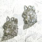 SALE NATIVE SPIRIT ANIMAL WOLF HEAD DANGLING USA CAST PEWTER PENDANT EARRINGS