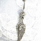 PRETTY ANGEL WING w ROSE FLOWER 2 SIDED CHARM ON 14G CLEAR CZ BELLY BUTTON RING