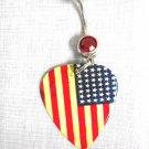 PATRIOTIC AMERICAN FLAG AGED LOOK OLD GLORY GUITAR PICK ON RED CZ NAVEL RING BAR