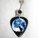 ELK / STAG / DEER / BUCK / BULL IN FULL MOON GUITAR PICK BLACK 14G CZ BELLY RING