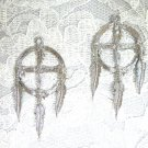 SOLID NATIVE 4 CORNERS MEDICINE WHEEL TRIBAL DREAM CATCHER PEWTER EARRINGS