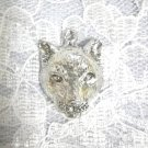 BIG CAT COUGAR FACE / MOUNTAIN LION HEAD WILDLIFE PENDANT ADJ NECKLACE PEWTER ANIMAL