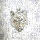 BIG CAT COUGAR FACE / MOUNTAIN LION HEAD WILDLIFE PENDANT ADJ NECKLACE PEWTER ANIMAL