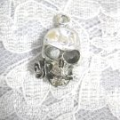 WICKED SKULL WITH ROSE FLOWER IN THE TEETH PEWTER PENDANT ADJ NECKLACE