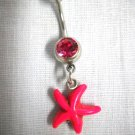 HOT PINK STARFISH BEACH FUN 2 SIDED CHARM HOT FUSCIA PINK CZ BELLY RING