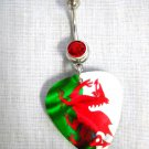 WELSH DRAGON UK FLAG GREEN WHITE & RED GUITAR PICK RED CZ 14g BELLY RING BAR