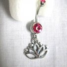 NEW OPEN LOTUS FLOWER CHARM ON DBL HOT FUSCIA PINK CZ 14g BELLY NAVEL BAR