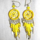 HAND MADE BRIGHT YELLOW WEB DREAM CATCHER w BEADED TASSELS FASHION EARRINGS
