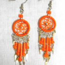 NEW ORANGE DREAM CATCHER w DANGLING BEADS TASSELS HAND MADE EARRINGS