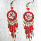 NEW HAND MADE BRIGHT RED WEB DREAMCATCHER w DANGLING TASSELS EARRINGS